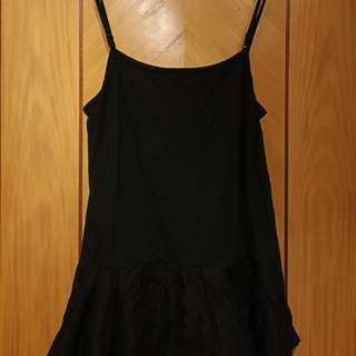 (日牌)  黑 lace tank top