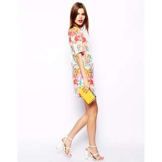 BN ASOS White Multicolour Floral Mirror V Back Shift Dress - UK 14 / EU 42 / US 10