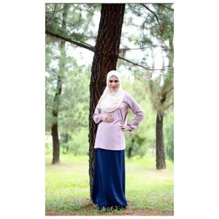Maternity Blouse (Purple and Mint)