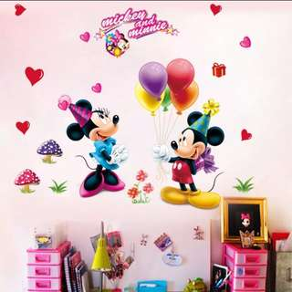 Mickey couple balloon cartoon wall stickers bedroom children's room decorative stickers self-adhesive kindergarten removable stickers/Home Decor ♀️Size W120*H75cm