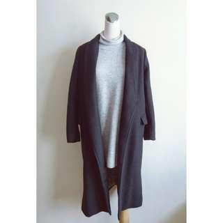 黑色毛呢內裡夾綿保暖長大衣