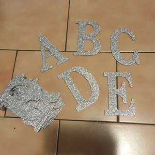 🚚 銀色金蔥木製英文字母裝飾A-Z #旺旺一路發