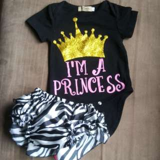 2pc shine black romper (0-6mth)