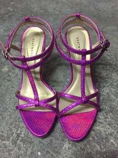 Heatwave shiny purple strappy heel