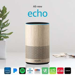 All New Amazon Echo 2nd Generation w improved sound Dolby OAK WOOD