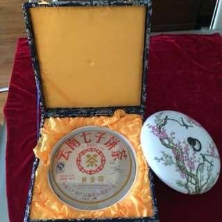 [黃金印]中茶牌配[喜上眉梢]景徳鎮制器皿