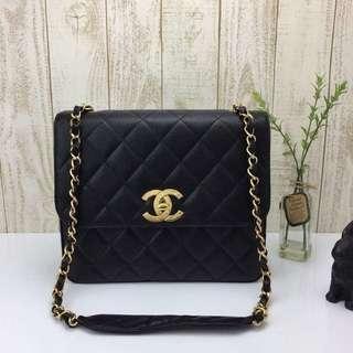 Chanel 超特大天價24k 金扣金鏈牛皮斜咩袋