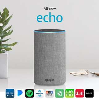 All New Amazon Echo 2nd Generation w improved sound Dolby FABRIC GRAY