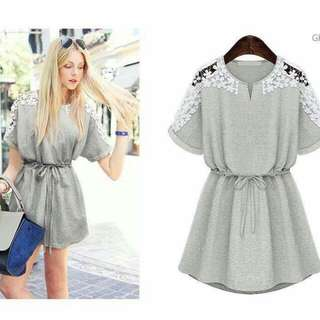 Online Sale: P350 only !!!  💋Lace Combined Drawstring Dress 💫Cotton type cloth  💫Embroidery lace on shoulder 💫Drawstring waist 💫Free size, loose fits up to XL 💫2 colors avail 💫Nice quality