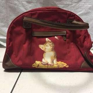 🚚 挺版紅色貓咪旅行提袋 #新春八折