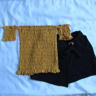Mustard Offshoulder + Black Skort (short & skirt)