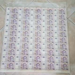 新加坡不切割连体钞票 $2 note 2000599-2098599=$100