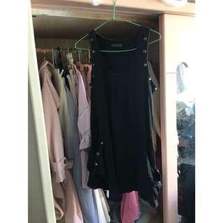 🚚 黑色長版口袋背心上衣