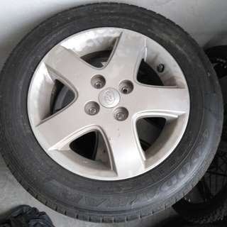 "Wheel Tayar myvi standard 14"" condition 80%"