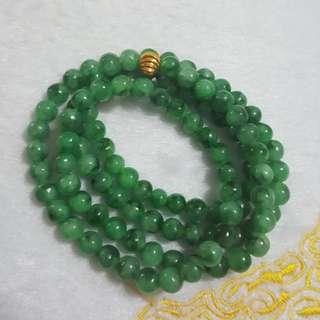 天然緬甸玉a貨漂亮陽綠花青7mm108顆項鍊