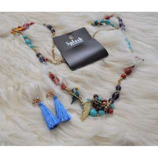 Pair 05 Tassel Earrings and Necklace