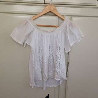 Zara White Off-Shoulder Top - US Size S