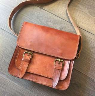 Handmade leather crossbody satchel from Morocco