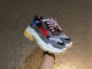 (Best Seller) Balenciaga Triple S Grey Red Blue