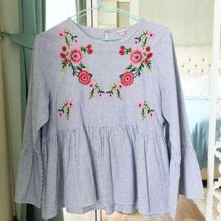 Zara Embroidery Peplum bell-sleeve Top