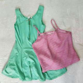 Mint green sleeveless + croptop