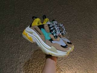 (Best Seller) Balenciaga Triple S Beige Green Yellow