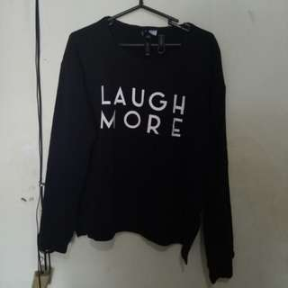 "H&m divided sweater ""Laugh more"" size L"
