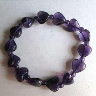 -全新-心型紫晶手串,全天然晶石,愛情石