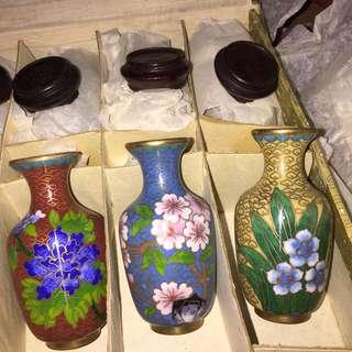 御用 景泰藍花瓶 掐絲琺瑯器 3寸12個 一套350 三隻100