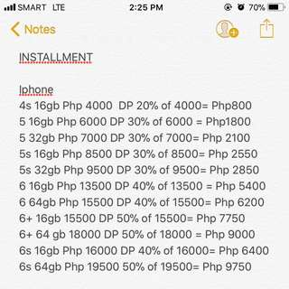 Available Iphones for installment
