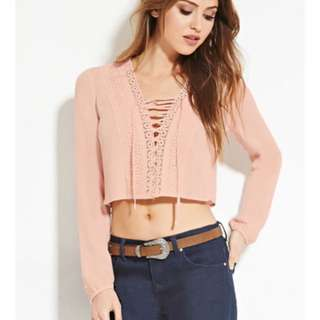 F21 Crochet Lace-Up Top In Pink