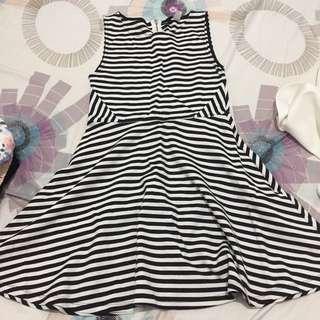 hnm divided stripes dress