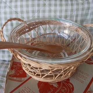Pyrex Bowl with Rattan Base