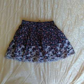 Floral Skirt - embroidered at hems
