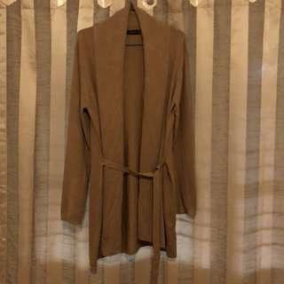 ZARA knitwear long cardigan camel size m