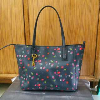 Tas Fossil Emma Shopper Navy Dot Authentic Original
