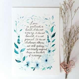 Watercolour Floral Border Bible Verse Art Card (1 Cor 13 Love) Part 1