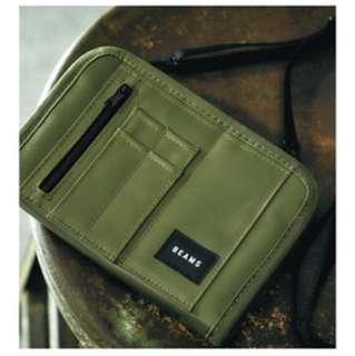 Beams 日本雜誌 證件袋 軍綠色 旅行 隨身袋