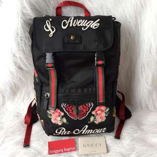 Gucci Embroidered Technical Canvas Backpack