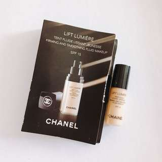 $15 chanel lift lumiere firming and smoothing fluid foundation 粉底液 sample 2.5ml 試用裝