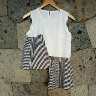 Asymmetric white and checked top