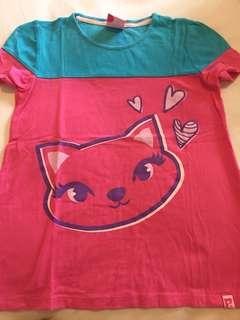 Kaos anak warna pink biru gambar kucing