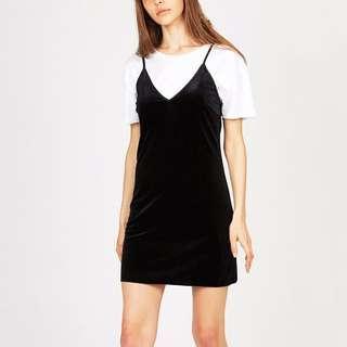 Neon Hart Velvet Cami/Slip Dress Black