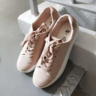 h&m nude shade suede sneakers