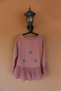 Pink cheap blouse embroidered