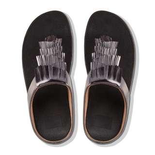 FitFlop CHA™  Metallic Cha Fringe Toe-Thong Sandals | Black | US Women's Size 7,8,9,10,11 | Flip Flop Sandal Slipper
