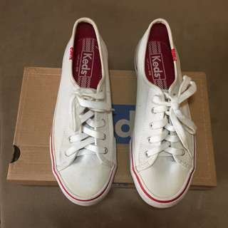 Authentic Keds White and Red With Extra Red Lace and Original box