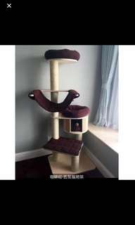 4 Tier SUPER DURABLE Cat Condo with BROWN bedding.