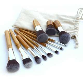Makeup Brush Set Bamboo Kabuki 11 pcs (Ready Stock)