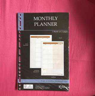 Monthly planner refill